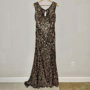 Gold sequin low back prom dress